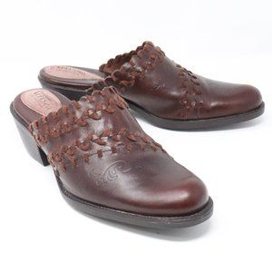 Clarks Artisan Brown Leather Mules Clogs